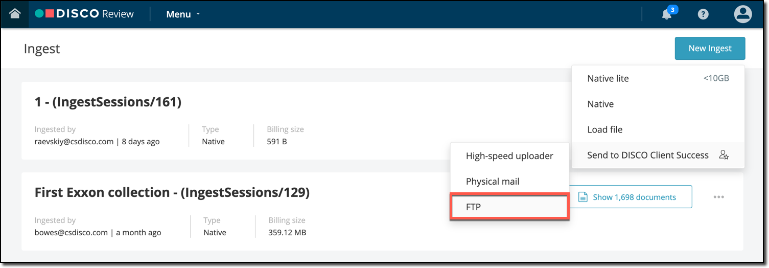 Ingesting data using an FTP client – DISCO